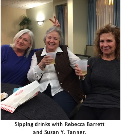 [photo: Sipping Drinks with Rebecca Barrett and Susan Y. Tanner]