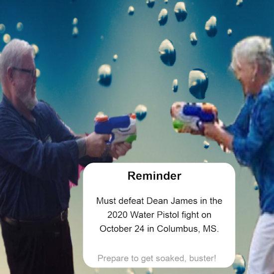 [Water pistol duel]