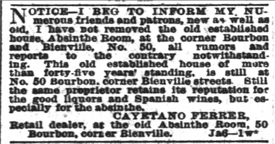 Absinthethe seductive killer sweet of gilded age new orleans the news orleans times picayune jan 10 1882 via newspapers m4hsunfo